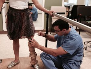 Erik working with prosthesis patient